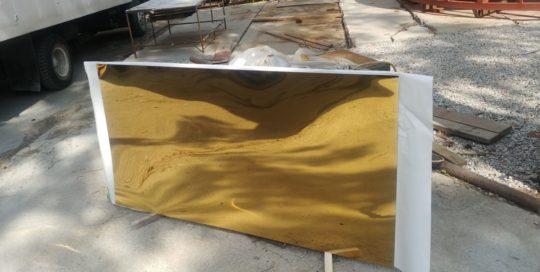 Листы нержавеющей стали с напылением нитридом титана (под золото)