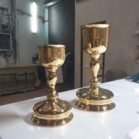 Реставрация потиров из латуни и меди с покрытием никелем и золотом