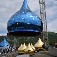 Купол с облицовкой оксидом титана.Кафедральный собор Рождества Христова в г. Южно-Сахалинске.