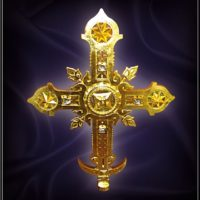 Изготовлен Надалтарный Крест. Отлит из нержавеющей стали, позолочен сусальным золотом, украшен натуральным хрусталем