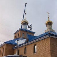 Монтажные работы на Храме Благовещения Пресвятой Богородицы в Москве (р-н Царицино)