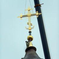 Монтаж креста на Храм прп. Сергия Радонежского в г. Москве.