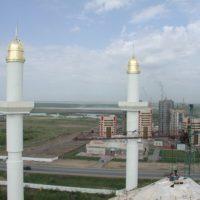 Выполнение работ по покрытию и золочению сусальным золотом и 4-х куполов минаретов мусульманского культурного центра в г. Астане Республики Казахстан.