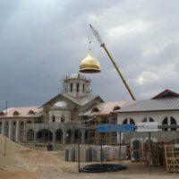 Монтаж купола. Русский паломнический центр в Иордании