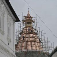 Работы по реставрации башни Новоспасского ставропигиального мужского монастыря