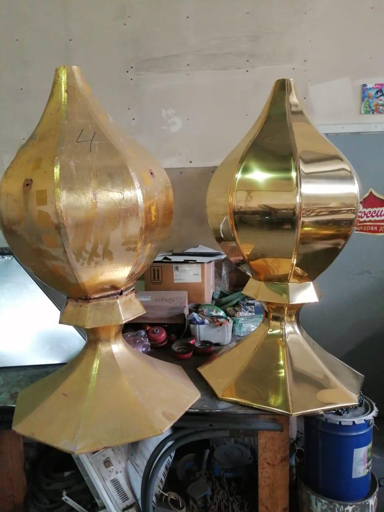 Изготовление куполов и крестов для Спасской церкви, Тюмень